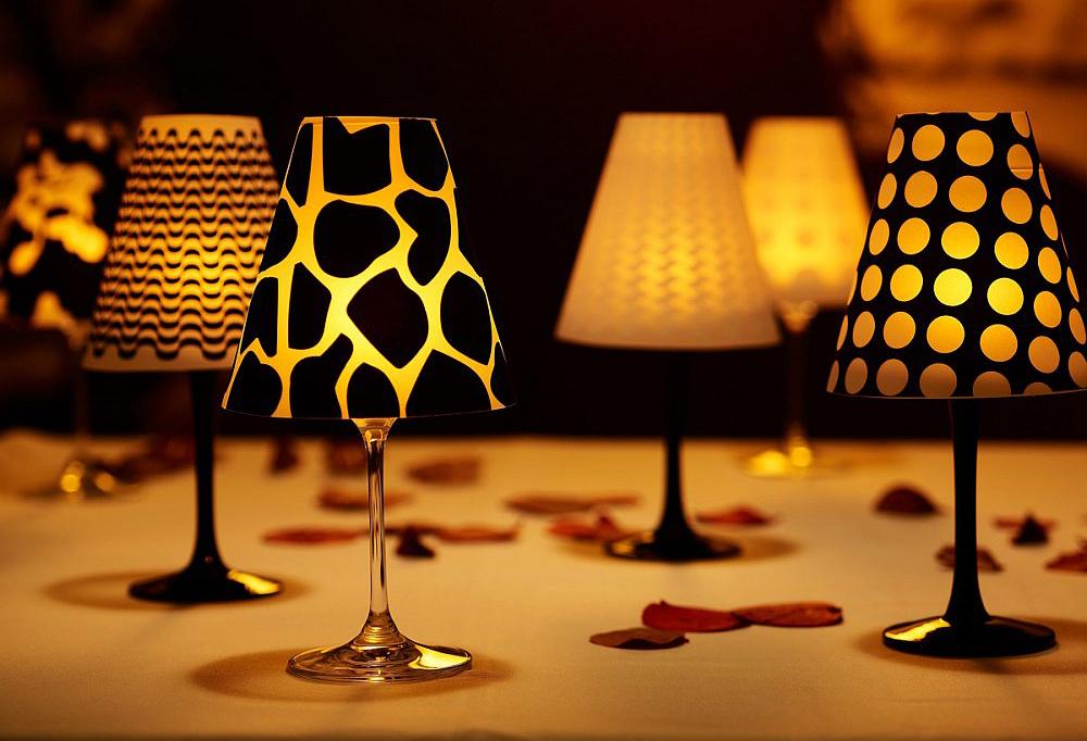 Lampa din pahare de vin