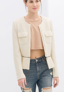 Jacheta cu peplum bej