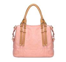 geanta roz cu manere crem