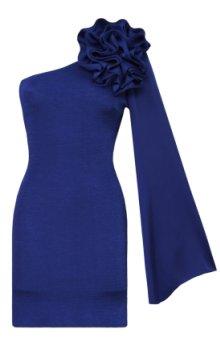 poza rochie de seara pe un umar albastra