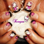 Unghii pictate Hello Kitty by Kory Nails