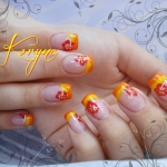 Unghii French cu model flori by Kory Nails