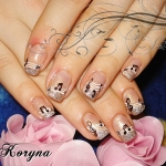 Unghii cu glitter si model by Kory Nails