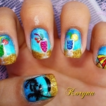 Unghii albastre pictate by Kory Nails
