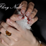 Unghii French rosii by Flory Nails