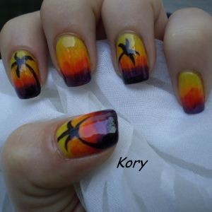 Unghii colorate gradat by Kory Nails