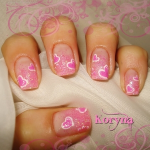 Unghii roz cu model inimioare by Kory Nails