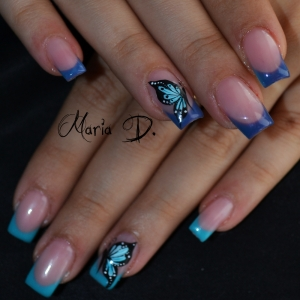 Unghii French Cu Albastru Si Model Fluture By Maria D