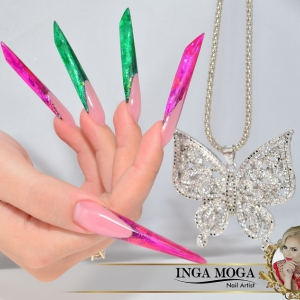Unghii stiletto glass effect by Inga Moga